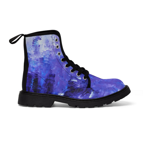 Abstract Blue Women's CANVAS BOOTS Edgy