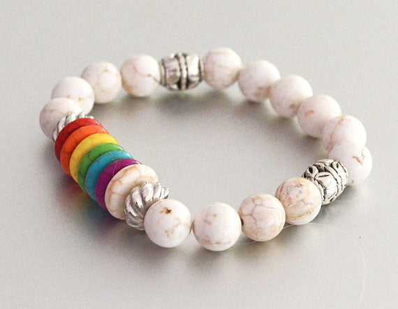 7 CHAKRAS Beaded Bracelet White - Spiritual Yoga Gifts Chakra Stretch Chakra Jewelry rainbow multicolored