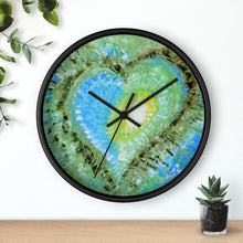 Artsy Heart WALL CLOCK colorful blue green