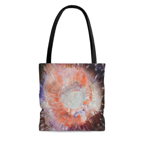 Unique Abstract Art TOTE BAG in Brown Orange Multi Colors