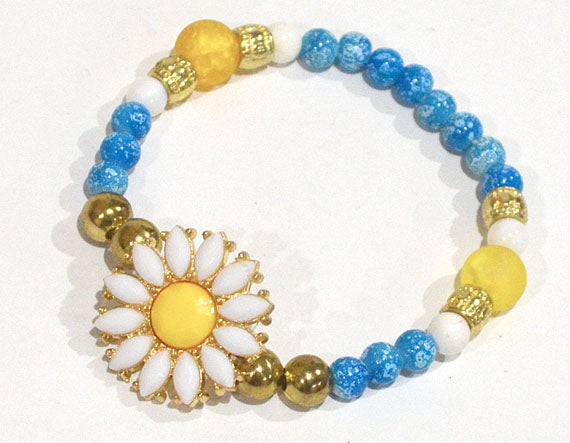 DAISY Stackable Bracelet w Aqua Blue White Beads - Flowers Bracelets Floral Gifts for her Stretch Beaded