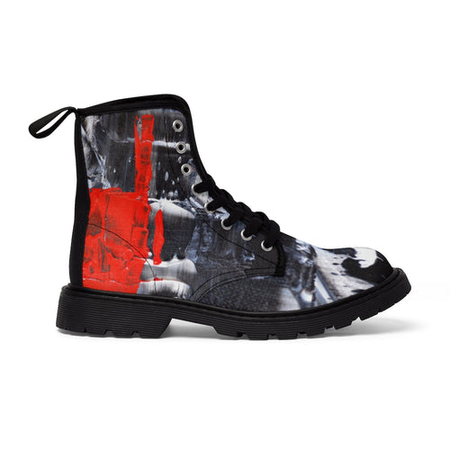 Cool Abstract Women's CANVAS BOOTS Red, Black and White