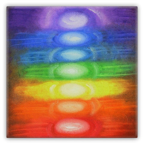 7 CHAKRAS - Art Magnet 2x2 Metal square Rainbow Colors 1034