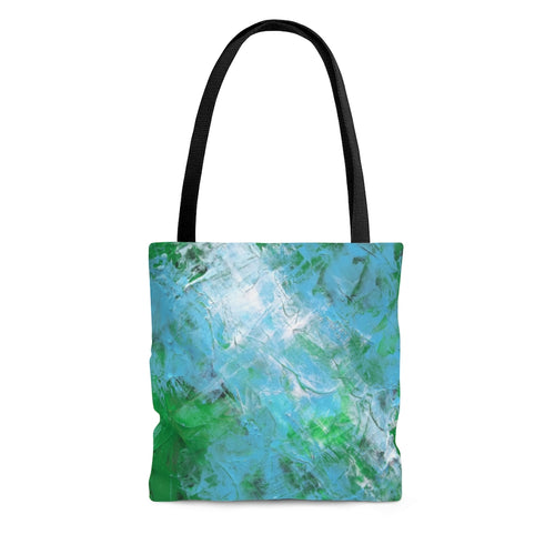 Light Blue Green Art TOTE BAG Abstract Painting onTotebag