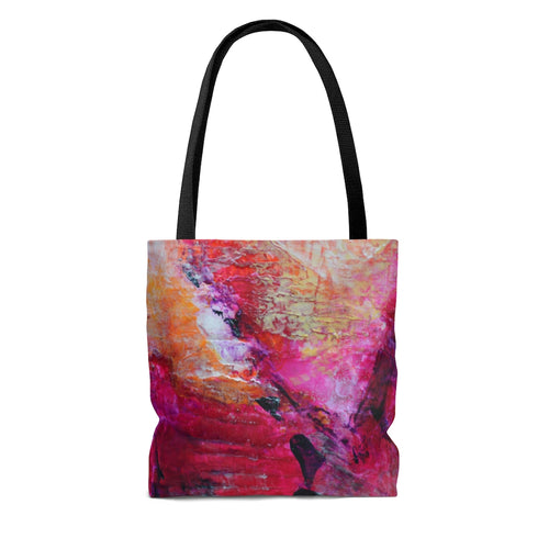 Artsy TOTE BAG Pink Orange Abstract Heart Unique Design