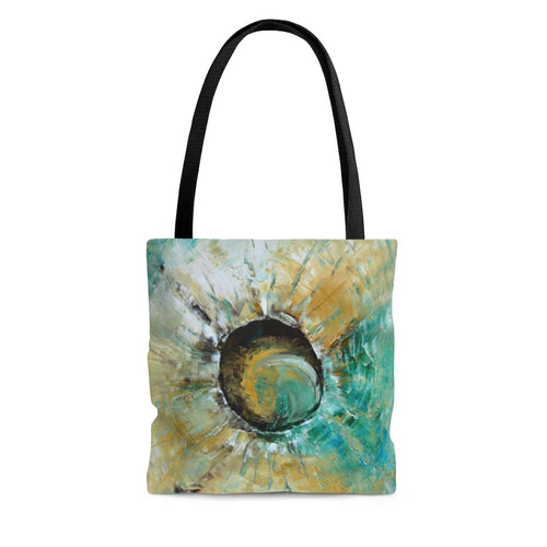 Unique Abstract Art TOTE BAG in Earth Tones and Turquoise