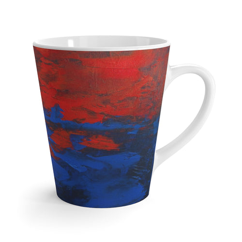 Red Blue Coffee LATTE MUG Modern Abstract Artsy Style 12 oz
