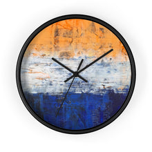 Modern Art WALL CLOCK Blue White Orange Colorful Abstract