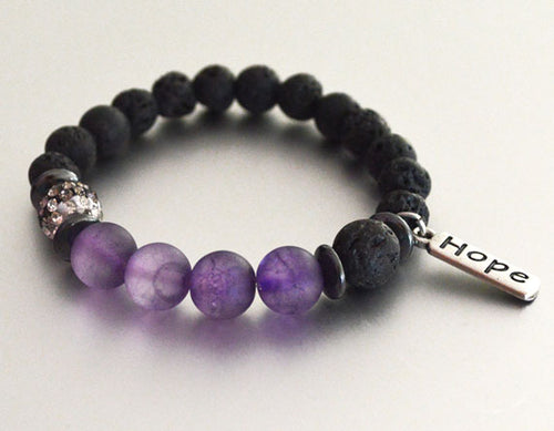 HOPE LAVA BEAD Bracelet, black with Purple Accent Beads - Diffuser Bracelet Beaded