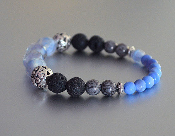 ICE BLUE Beaded Bracelet w Black Lava Beads, Silver Gray Accent Beads, stretchy