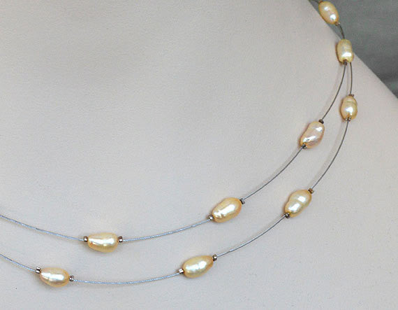 Illusion Floating Necklace - Golden-White Natural Pearls, double stranded silver wire
