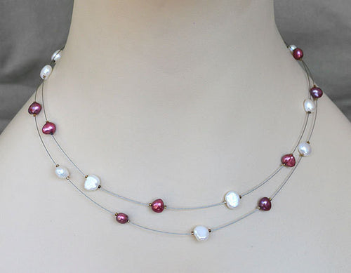 ILLUSION Floating Necklace - Bridal Gifts, Natural Pearls, double stranded silver wire