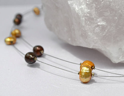 FLOATING Illusion Necklace - Brown Golden-White Natural Pearls, Silver Wire, handmade