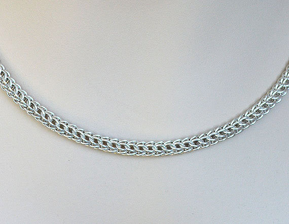 925 Sterling Silver Necklace, Full Persian Weave, Chainmaille handmade A1