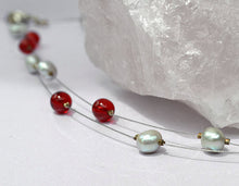 FLOATING ILLUSION NECKLACE, Red Grey White Pearls, Unique Handmade Gift