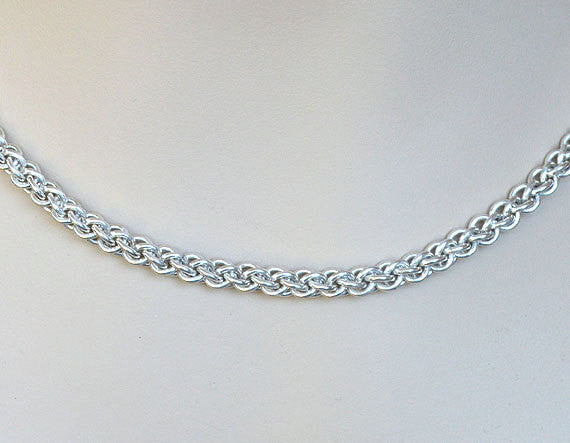 925 Sterling Silver Chainmaille Necklace, Handmade Jewelry JENS PIND Weave JP3