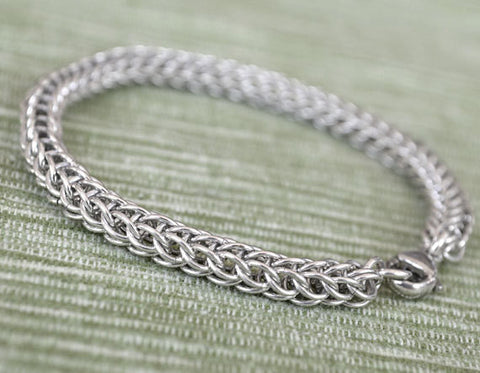 925 Sterling Silver Wire Bracelet, handmade Chainmail A1