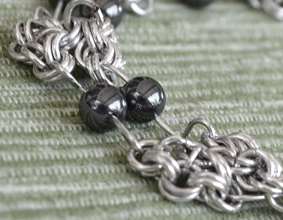 925 Sterling Silver Wire Chainmaille Bracelet with Hematite, double stranded