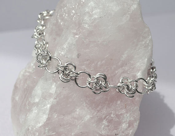 925 Sterling Silver Wire Bracelet VICTOR WEAVE Chainmaille, handmade V1