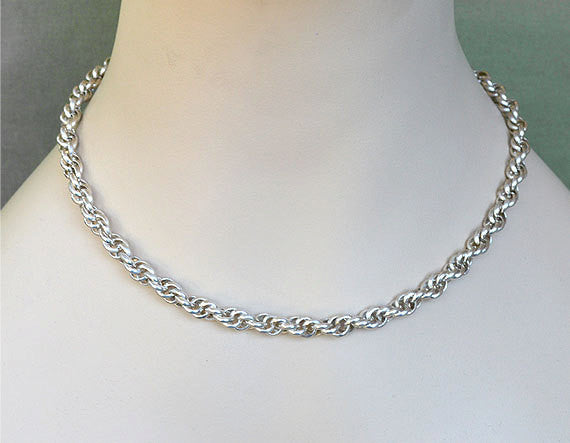 Handmade 925 Sterling Silver Chain Necklace, Twisted Spiral Rope, Chainmaille SK1