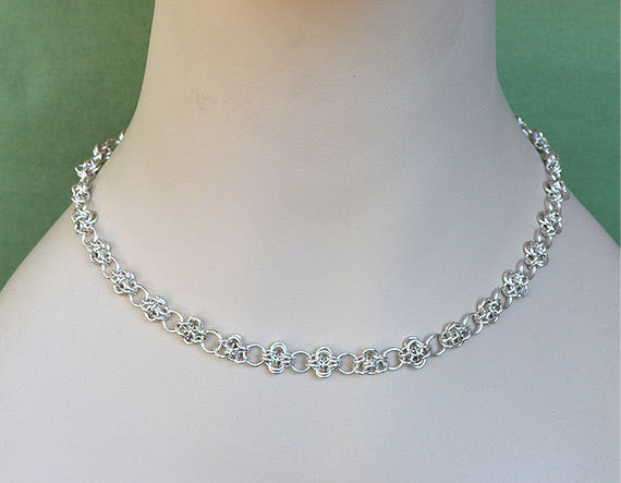 Fine Silver Wire Necklace - V1 handmade 925 Sterling Silver, chainmaille