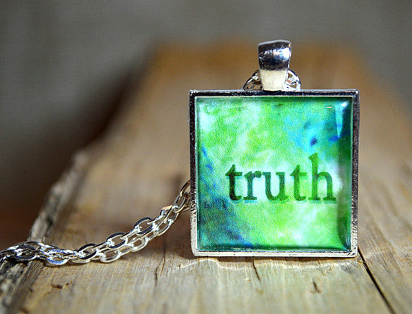 TRUTH - Green Pendant Word Art Inspirational Resin Jewelry Quote Necklace