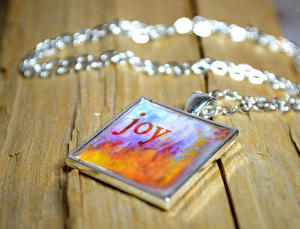 JOY - Word Art Pendant, inspirational, unique gift, handmade