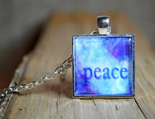 PEACE Wearable Word Art, Inspirational Jewelry Gifts, blue pendant