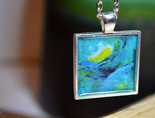 Handmade TURQUOISE Pendant Necklace, Abstract Wearable Art, Square Jewelry #Mini19