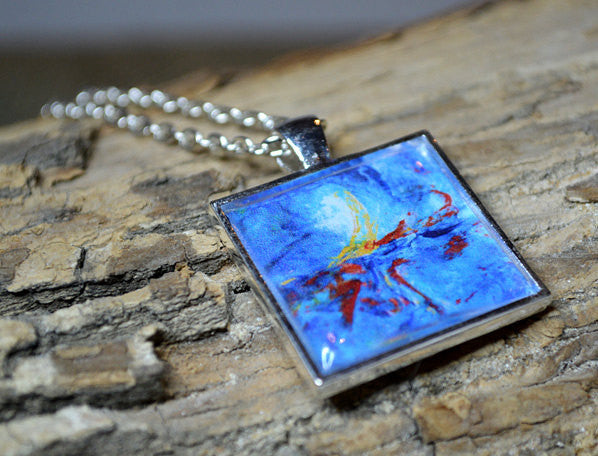 BLUE Abstract Art Pendant Necklace  #1080-11