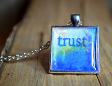 TRUST - Blue Pendant Necklace, Inspirational Jewelry, Mood Jewelry, Resin