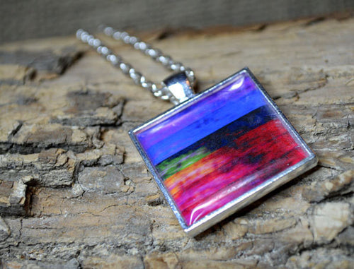 MULTI-COLOR Modern Art Pendant Necklace, handmade Colorful Wearable Art