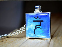 THROAT 5th CHAKRA Pendant - Handmade Silver-Plated Square Blue