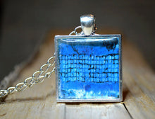 BLUE CAGE - Abstract Art Pendant, handmade #1072-1