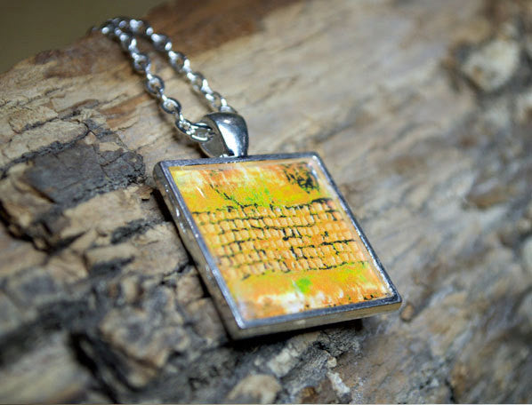 MUSTARD YELLOW Ochre Art Pendant Necklace, silver-plated, square