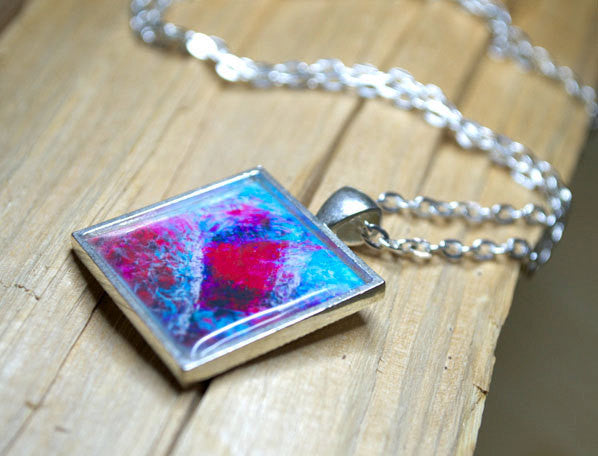 ABSTRACT Art HEART Pendant, Turquoise Magenta-Pink, Love Jewelry, Modern Art Gifts