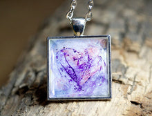 Lilac PURPLE HEART Pendant, Abstract Modern Art, pastel colors, unique gifts