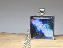 ENERGY Art Jewelry Blue White Pendant, Inspirational Jewelry Abstract Resin Necklace