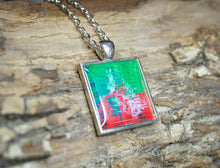 STRENGTH - Green Red Abstract Pendant, unique necklace, colorful jewelry