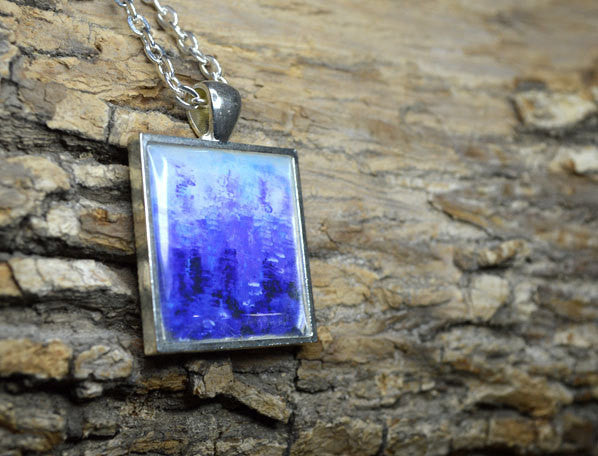 BLUE CODE Pendant #1022 Necklace - Wearable Art, abstract