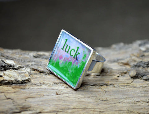 Good LUCK Gift - Word Art adjustable Ring, handmade resin jewelry