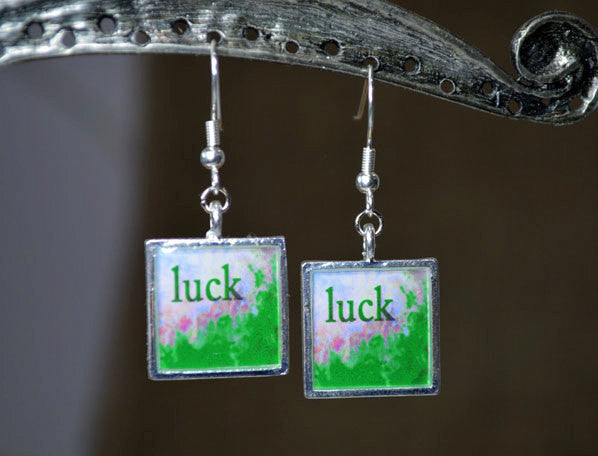 Good LUCK Earrings - Word Art Jewelry, handmade - Abstract Wearable Art