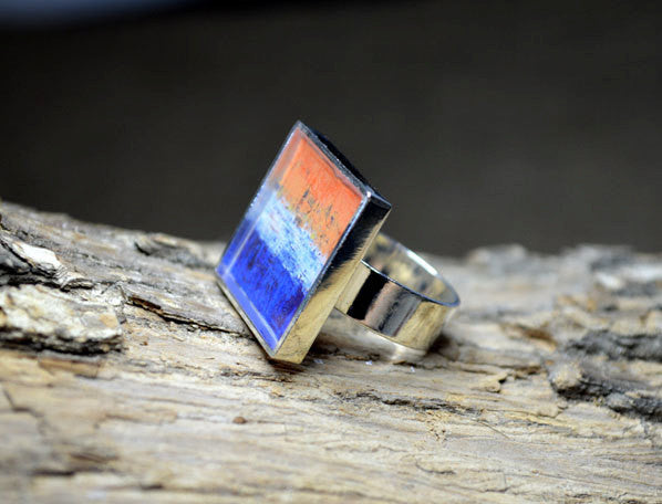 ORANGE BLUE Modern Art Resin Ring - handmade Unique Gift, True Mind