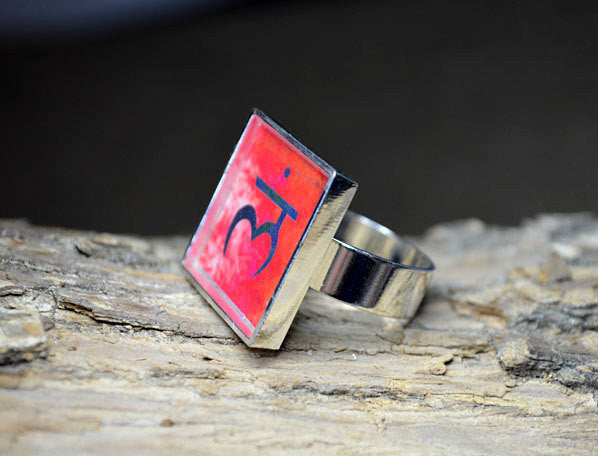 ROOT CHAKRA Symbol Ring, adjustable, red jewelry, yoga gifts