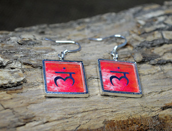 ROOT CHAKRA Symbol - Red Dangle Earrings, handmade Resin Jewelry