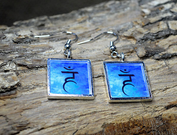THROAT CHAKRA Earrings - Blue Silver-Plated, handmade, square