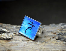THROAT CHAKRA Ring - adjustable, Blue Silver-Plated Square