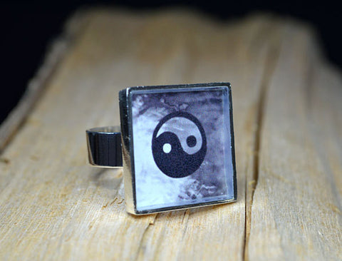 YING YANG Resin Ring, handmade Gifts - Balance, Inspirational Jewelry, Feng Shui