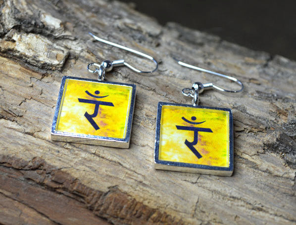 SOLAR PLEXUS 3rd Chakra Dangle Earrings - Handmade Silver-Plated Yellow