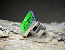 HEART CHAKRA Symbol Green Ring, adjustable handmade #1067